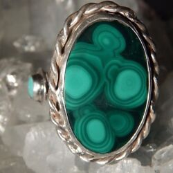 Gentleman's Malachite And Turquoise Custom Sterling Silver Ring