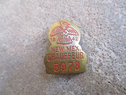 Vintage 1942 New Mexico Nm Chauffeur Badge Pin Cdl Employee Id Driver License 2