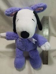 2017 HALLMARK Easter Beagle Snoopy Plush Purple Bunny Outfit