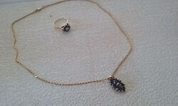Sparkling Saphire Ring And Necklace