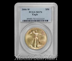 2006-w 50 Gold Eagle Pcgs Ms70 First Year Burnished Gold