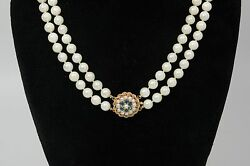 Vintage Double Strand Of Pearls 40 Long Total W/14k Gold Sapphire And Pearl Clasp