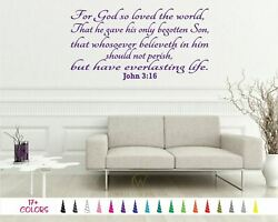 John 316 For God So Loved The World Bible Wall Vinyl Decal Scripture Sticker