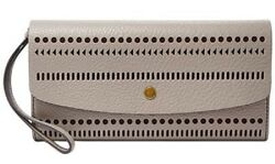 New Fossil Haven Large perforated leather  Flap Wallet  wristlet  snap Grey