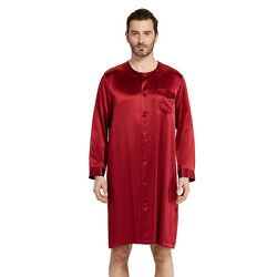 New Lilysilk Silk Robes For Men Button Front Closure O-neck 22 Momme Nightshirt