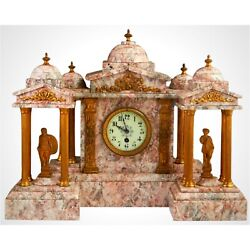 Antique Clock Set,three Piece Gilt Spelter And Violette Marble, 19th C., 1800s