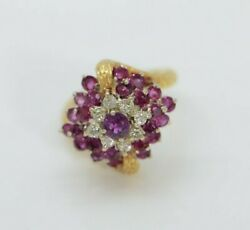 Circa 1960and039s 18k Yellow Gold Ruby And Diamond Ring Size 6