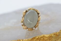 Ming's Of Honolulu 14k Yellow Gold Grey Jade And Pearl Ring , Size 6.5