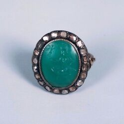 1800's 10k Rose Gold Ring W/green Intaglio Figure And Rose Cut Diamonds, Size 5