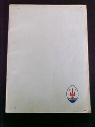 Maserati Parts Manual Price List Workshop Manual Book_1972_oem