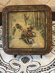 Rare Huntley Palmer Biscuit Cookie Tin Colored North American Sports C.1885