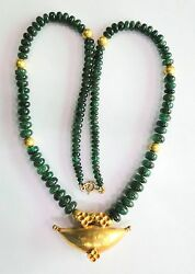 Vintage Antique 18k-20k Gold Jewelry Natural Emerald Beads Necklace Pendant