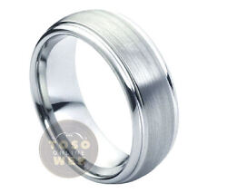 Menand039s 8mm Semi-dome Stepped Edge Polish Tungsten Ring W/ Brushed Center Ts1760
