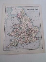 Antique Map 1890 England And Wales - From Philips Atlas For Beginners §4