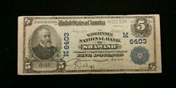 1902 5.00 Shawano Wisconsin National Currency Paper Money