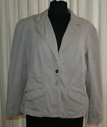 Chicos Womens Jacket Blazer 2 M 12 Beige Lined 3 Buttons Dress Casual Collar