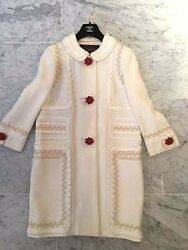 Louis Vuitton Cream Coat Dress And Skirt Set-gorgeous Trimming/buttons-sz 38 And 40