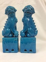 Vintage A Pair Of Chinese Blue Porcelain Foo Dog Figurine