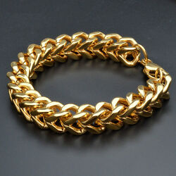 Mens Stainless Steel Gold 11mm Franco Cuban Curb Link Chain Bracelet +Box BR340