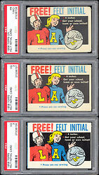 1958 Topps Cfl And Nfl Free Felt Initial Master Set 3 Football Cards Psa Graded