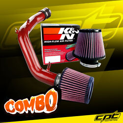 For 01-06 Vw Golf Gti 1.8t 1.8l 4cyl Red Cold Air Intake + Kandn Air Filter