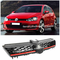 Gti Style Red Trim W/ Badge Spot Front Bumper Grille For Vw Golf Mk7 15-up Mesh