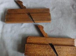 2 Antique 19 C. Wood Molding Planeswall Hangers For Country Kitchenstamped