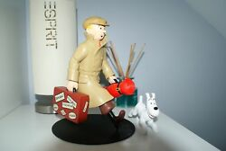 Extremely Rare Tintin With Snowy Traveling Limited Edition Figurine Statue