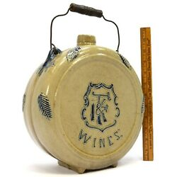 Antique Stoneware Wine Canteen By Whites Pottery For I.fand K Wines C.1890 Rare