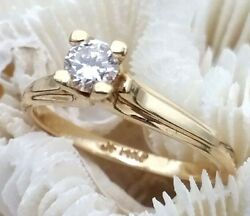 14k Yellow Gold 1/4 Carat Solitaire Diamond Engagement Ring Vs1 Clarity G Color