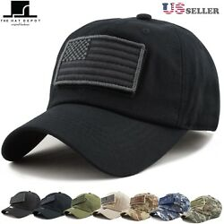The Hat Depot Low Profile Tactical Operator with USA Flag Patch Cotton Cap 1007