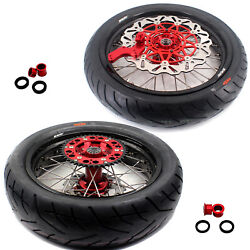 Kke 3.5/4.2517 Supermoto Wheels Rims Tires For Crf450r 02-2012 Crf250r 04-2013