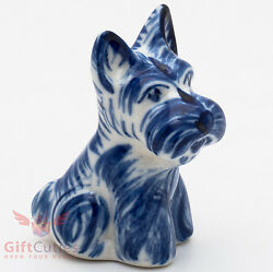 Porcelain Schnauzer or Scottish Terrier  Dog Figurine Gzhel handmade