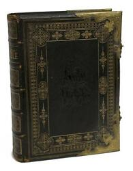 Bible, Antique, Family, Leather And Brass Bound, 19th C, 1800's