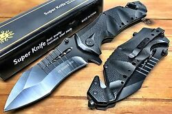 9quot; USA Ballistic Pocket Spring Assist Folding Knife Black Blade 5 Inch Closed