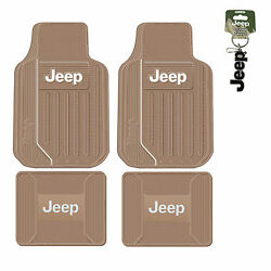 New 5pc Tan Beige Jeep Elite Front And Back Heavy Duty Rubber Floor Mats Keychain