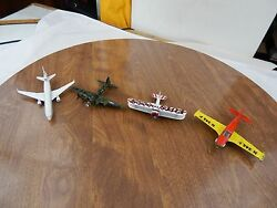 Lot Of 4 Vintage Die Cast Toy Airplanes Matchbox Piper Commanche Schabak Spad