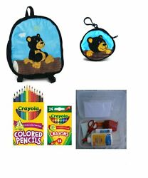 Plush Black Bear Backpack Matching Coin Purse And A Surprise Gift For Children
