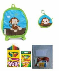 Plush Monkey Backpack Coin Purse And a Surprise Gift For Children Entering And