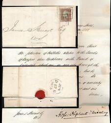 PENNY RED SMALL CROWN Perf 14 LETTER 1855 CASTLE STREET SCOTS LOCAL BOXED + SEAL