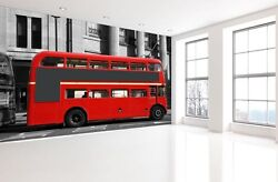 3d Red Buses Streets 1a Paper Murals Wall Print Decal Wall Deco Aj Wallpaper
