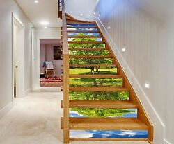 3d Green Trees 191 Stairs Risers Decoration Photo Mural Vinyl Decal Wallpaper Us
