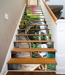 3d Wood Stairs 241 Stairs Risers Decoration Photo Mural Vinyl Decal Wallpaper Us
