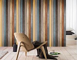 3D Color Retro Plank Wall Paper Wall Print Decal Wall Deco Indoor wall Murals