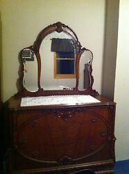 Victorian Carved Antique Bedroom Set-headboard Footboard, Chest,dresser-mirrors.