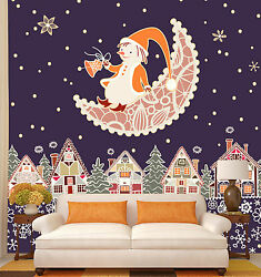 3d Father Christmas On Moon 31 Wall Paper Wall Print Decal Wall Deco Indoor Wall