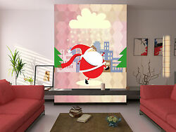3d Father Christmas And Cloud Wall Paper Wall Print Decal Wall Deco Indoor Wall