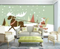 3d Father Christmas Carriage 2 Wall Paper Wall Print Decal Wall Deco Indoor Wall