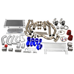 Cx Twin Turbo Kit Intercooler Piping Radiator For 68-72 Chevrolet Chevelle Sbc