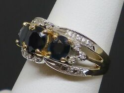 Vintage 1.75ctw Sapphire And Diamond 14k White And Yellow Gold Ring, 6.3g, Size 6.5